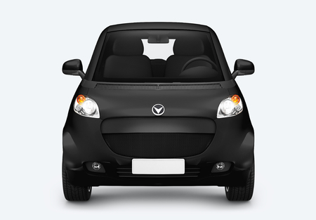 Front view of a black microcar in 3D