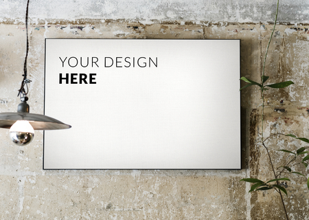White board mockup on a grunge concrete wall Stockfoto