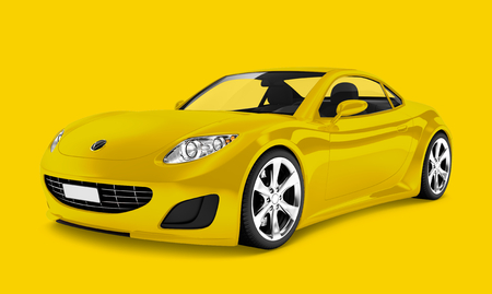 Side view of a yellow sports car in 3D Banque d'images - 123234788