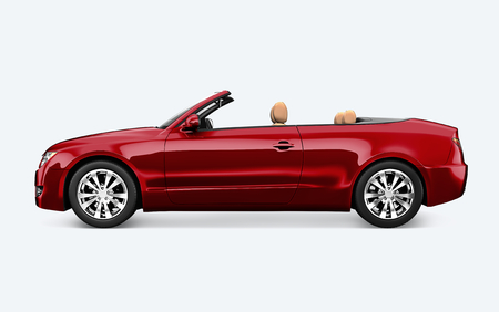 Side view of a red convertible in 3D Zdjęcie Seryjne - 123234797