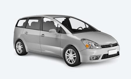 Vista lateral de una minivan plateada en 3D