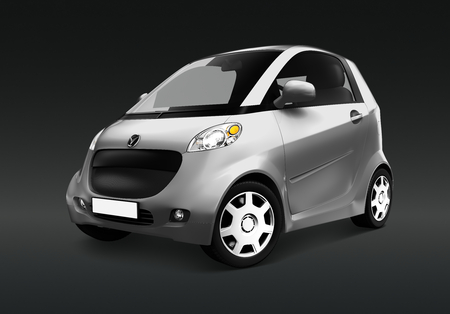 Side view of a silver microcar  in 3D Stock Photo