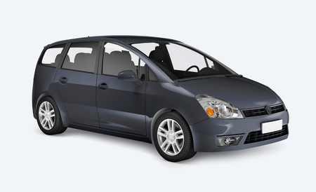 Side view of a blue minivan in 3D Stock Photo
