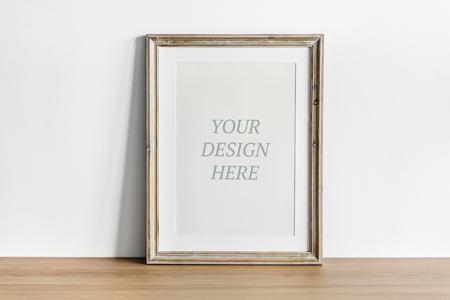 Wooden frame mockup on the floor