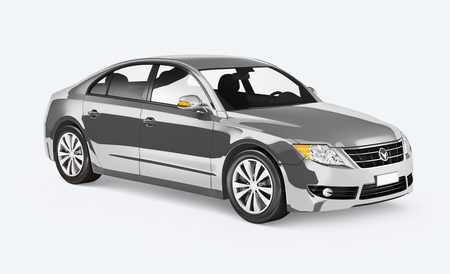 Side view of a silver sedan in 3D Stock Photo