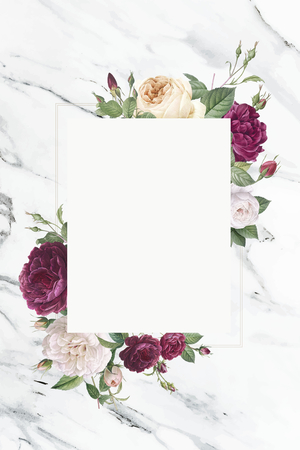 Rectangular frame decorated with roses illustration Фото со стока - 123234860