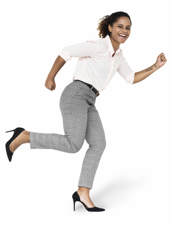 Black woman in a running position character isolated on a white background