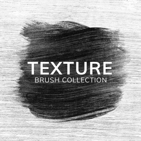 Black oil paint brush stroke texture on a grunge wooden background Stock Photo