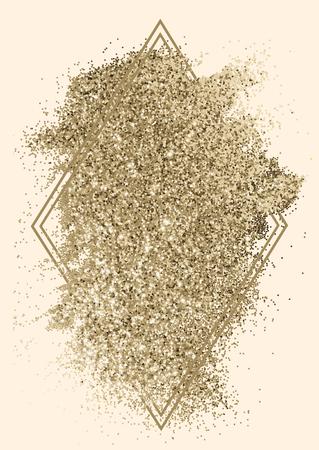 Festive sparkly golden glitter background badge 写真素材 - 123234901