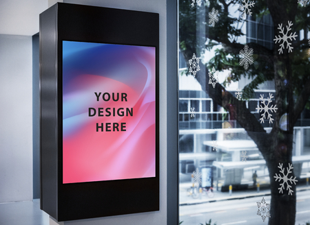 Mockup of a colorful advertisement signboard