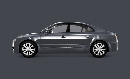 Side view of a gray sedan in 3D