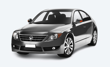 Side view of a gray sedan in 3D Stock Photo