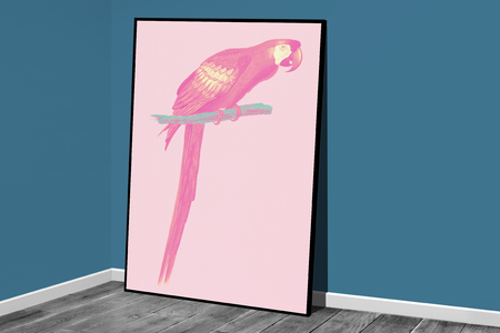 Parrot in a frame mockup against a wall