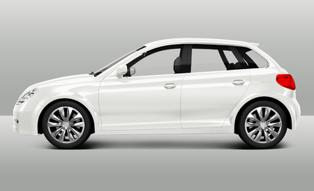 Side view of a white hatchback in 3D
