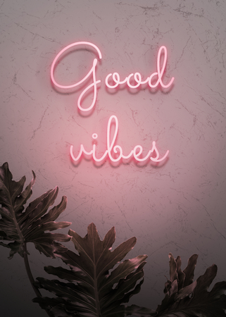 Neon red good vibes on a wall Banco de Imagens