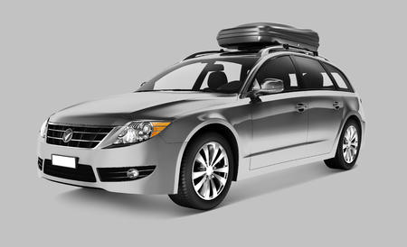 Side view of a silver SUV in 3D