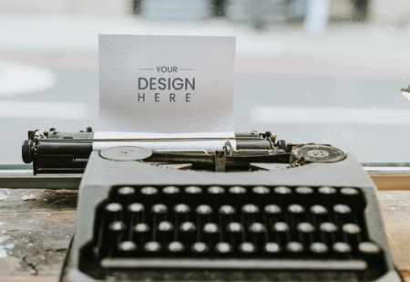 Retro typewriter with a paper mockup Stock Photo
