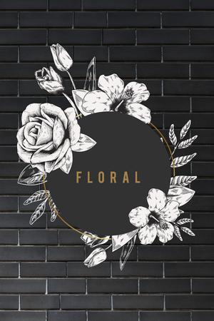 Floral frame black brick wall background illustration Stock Photo