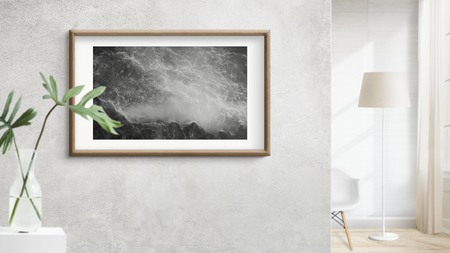 Wooden frame mockup on a gray wall