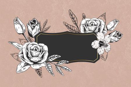 Floral frame on pink background illustration