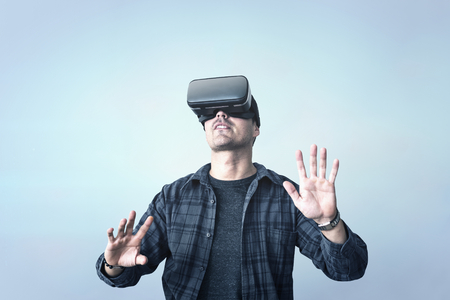Man enjoying a VR experience