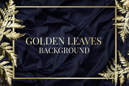 Gold leatherleaf fern frame on navy blue silk textured background illustration Stock Photo