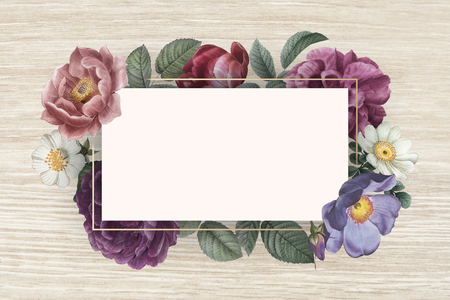 Floral banner on a wooden background illustration Stock Photo