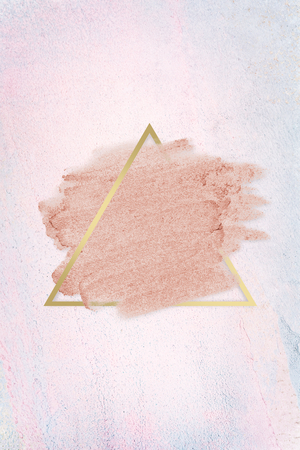 Pastel pink paint with a gold triangle frame on a pastel pink background illustration