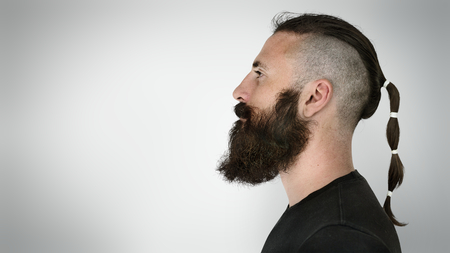 Side view of a bearded man Stock Photo