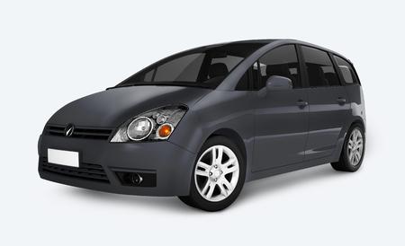 Side view of a gray minivan in 3D