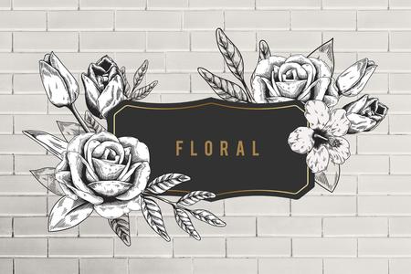 Floral frame beige brick wall background illustration