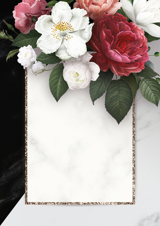 Floral frame on a marble textured background illustration Stock Photo