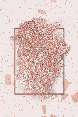 Pink gold glitter with a brownish red rhombus frame on a pink marble background