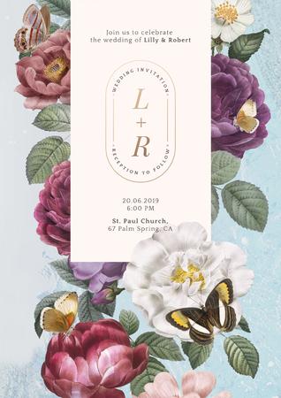 Floral frame on a blue background illustration Stock Photo