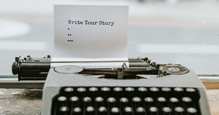 Retro typewriter with a piece of paper mockup website banner template