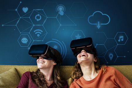 Friends enjoying their VR headset