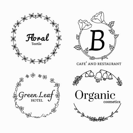 Floral feminine logo design set Logo