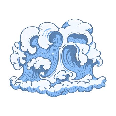 Blue Japanese wave background vector
