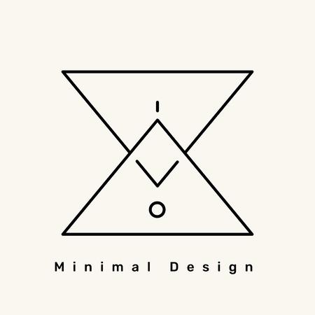 Minimal brand logo on a cream background, vector illustration Illustration