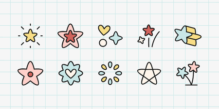 Colorful star shape icon collection, vector illustration