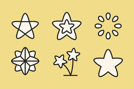 White star shape icon collection, vector illustration