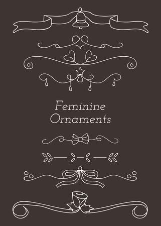 White feminine ornamental dividers vector collection Illustration