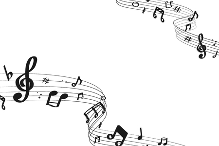 Black flowing music notes on white background, vector illustration