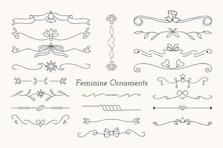 Black feminine ornamental dividers vector collection
