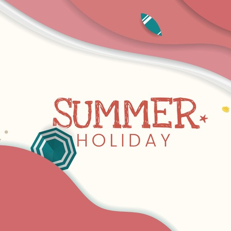 Summer holiday tropical beach background, vector illustration