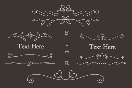 White feminine ornamental dividers vector collection 向量圖像