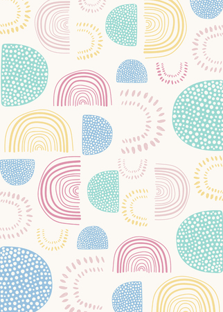 Semicircle patterned doodle background vector Standard-Bild - 123717793