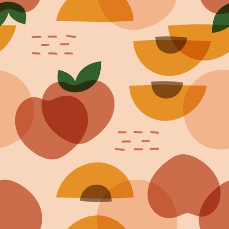 Tropical peach fruit pattern vector Illustration
