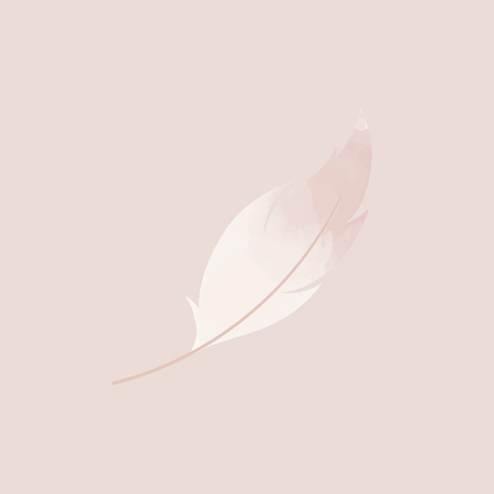 Single pink lightweight feather vector