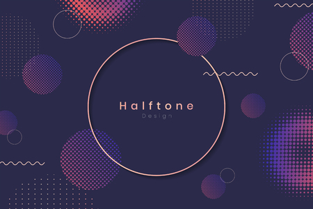 Round frame on halftone navy blue background vector Vettoriali